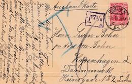 Postcard Send To Denmark From Berlin 11.10.19. Payed To Litle + Gebyr - Briefe U. Dokumente