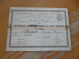 Action 100 Francs Certificat De Part Coopérative Vinicole De Fons 1930 - Agriculture