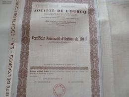 Action Certifcat Nominatif Société De L'Ourcq Châlon Sur Saone - Actions & Titres