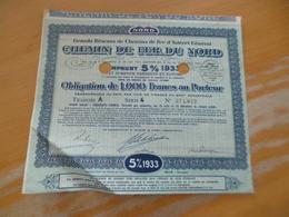 Action Obligation 1 000 Francs Chemin De Fer Du Nord Intérêt Local 5% 1933 - Chemin De Fer & Tramway