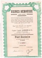 Action Ancienne - Usines Dehousse - Titre De 1973 - - Industrie