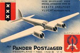 Pander Postjager, Briefkaart Eerste Snelpostvlucht 1933, Bandoeng, Th.Douwes, Pelikaan - 1919-1938: Entre Guerres