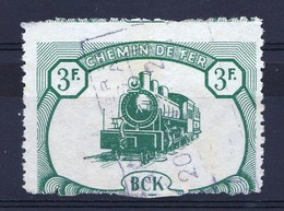 RARE MISPRINT ! TRAIN CANCEL TYPE 3F  BCK BELGIAN CONGO RAILWAY USED 1942 - CP20 - Congo Belge