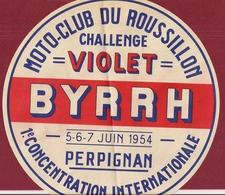FRANCIA PERPIGNAN  ROUSSILLON MOTO CLUB MOTOCICLISMO BYRRH 1954 1° RADUNO INTERNAZIONALE ITALIA - Publicidad