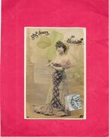 CPA COLORISEE FANTAISIE  -  - Belle Femme Au Trèfle - 365 JOURS De BONHEUR - SAL** -- - Femmes