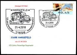 84179) BRD - SoST-Karte 07/066 - 21698 HARSEFELD Vom 21.04.2018 - 125 Jhre Feuerwehr, Löschfahrzeug - Brandweer