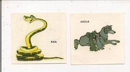 Lot De 2 Images 1968 - Décalcomanies Walt Disney -  LE LIVRE DE LA JUNGLE  KAA  Et  AKELA - Old Paper