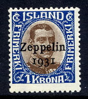 ICELAND 1931 Zeppelin 1 Kr. With Flaw On 1 MNH / **,  Facit 163v - 1918-1944 Autonomous Administration