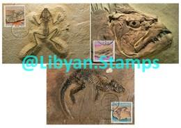 LIBYA - 1985 Fossils (3 Maximum-cards) - Fossils
