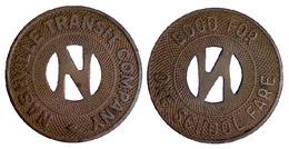 01520 GETTONE JETON TOKEN TRANSIT TENNESSE, NASHVILLE, 1954 - Non Classificati