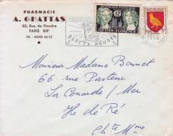 Lettre Paris 1956 Flamme Bérets Rouges Parachutiste Pharmacie A. Ghattas Rue De Flandre - Marcofilie (Brieven)