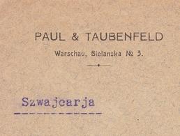 Lettre Varsovie Warszawa Warschau 1913 Pologne Poland Polska Paul & Taubenfeld Tramelan Suisse Schweiz - ....-1919 Provisional Government