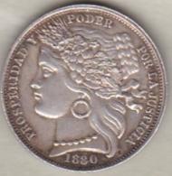 Perou . Una Peseta 1880 BF . Argent, KM#200.1, SUP++++/XF+++ Proche Du Neuve - Pérou