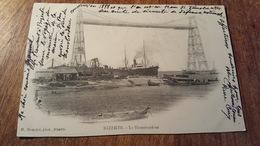CP ÉCRITE 1904 TUNISIE BIZERTE PONT TRANSBORDEUR DE 1898 DÉTRUIS EN 1904 SIGNE PIERRE CURIE - Tunisie