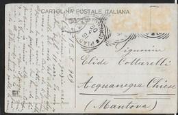 STORIA POSTALE REGNO - ANNULLO TONDO RIQUADRATO PIADENA/(CREMONA) (p.2) SU CARTOLINA ILLUSTRATA 15.06.1909 - Marcophilie