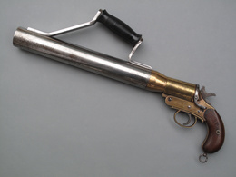 Rare Pistolet Lance-amarres Schermuly De 42 Mm En Acier Nickelé Et Bronze Doré - Armes Neutralisées
