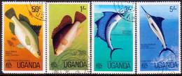 UGANDA 1977 SG #178-81 Compl.set Used Game Fish - Oeganda (1962-...)