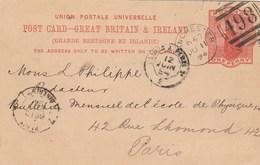 Grande Bretagne Entier Postal MANCHESTER 498 11/6/1894 Pour Paris France - Ambulant - Interi Postali