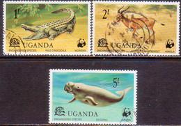 UGANDA 1977 SG #200//03 Part Set Used 3 Stamps Of 5 Endangered Species - Uganda (1962-...)