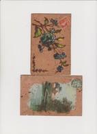 2 Cartes En Liège Peintes /Myosotis ; Paysage - Cartes Postales