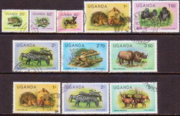 UGANDA 1979-82 SG #304A//308B Part Set Used 11 Stamps Of 17 Including All Three Stanps With Imprints - Uganda (1962-...)