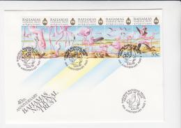 FLAMINGOES     - BAHAMAS - 1999 - FLMINGOES STRIP OF 5  ON ILLUSTRATED FDC - Flamingo