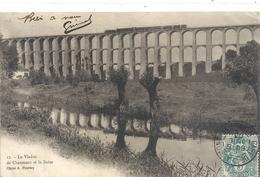 LE VIADUC DE CHAUMONT ET LA SUIZE + TRAIN A VAPEUR . AFFR SUR RECTO LE 6 JUILLET 1903 - Chaumont