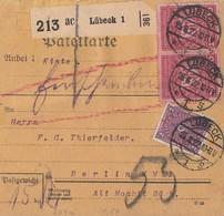 DR Paketkarte Mif Minr.191,2x 204 Lübeck 15.8.22 - Deutschland