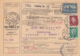 DR Paketkarte Mif Minr.365,411,421 Leipzig 17.6.30 Gel. In Schweiz - Deutschland