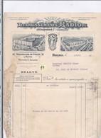 Une Facture  :   Ets :   Radior   : Manufacture De Cycles & Motos    Année 1933 - 1900 – 1949