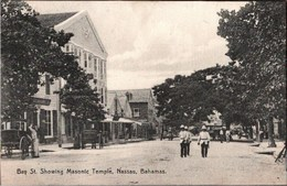 ! Alte Ansichtskarte Nassau, Bahamas, Bay Street, Masonic Temple, Freemansory, Freimaurer - Bahamas