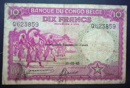 Billet - Congo Belge, 10 Francs Type 1941-50, Troisième Émission - 1943 - Belgian Congo Bank