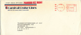 USA Cover With Meter Cancel Miami 19-9-1985 Sent To Denmark From Chief Radio Officer On PANAMANIAN M/S HOLIDAY - Etats-Unis