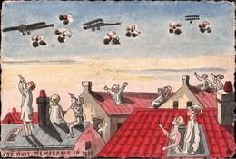 ! Künstler Karte Sign., Une Nuit Memorable, Flugzeuge, Flak, 1. Weltkrieg, 1915, Guerre 1914-1918 - Guerre 1914-18