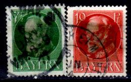 Germany, Bavaria 1914-1920, King Ludwig III #97, 98, Used, Heavy Hinge Residue - Bavaria