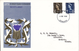 Great Britain FDC 1968 Scotland Scott #9, #11 Definitives Posted To Canada - 1952-1971 Em. Prédécimales
