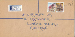 South Africa Registered Cover Sent To England Umbogintwini 15-4-1980 - Covers & Documents
