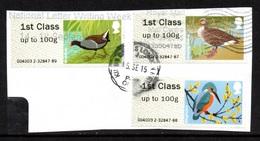 GREAT BRITAIN Post & Go Labels/Birds/Moorhen/Goose/Kingfisher: USED ON PIECE - Gran Bretagna