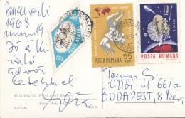 """RUMÄNIEN 1968 - 3 Sondermarken Auf Ak """"BUCARESTI - Strassenansicht"""" Gel.v.Bucaresti > Budapest - Luftpost"""
