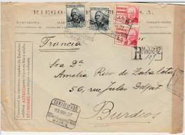 España 1937 Carta Certificada MADRID ESTAFETA SUCURSAL N° 12 Hasta Burdeos     EL646 - 1931-50 Cartas