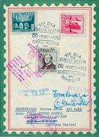 1948 , ED. 1037 / 1039 , CENTENARIO DEL FERROCARRIL , MAT. PRIMER DIA , CERTIFICADO A NUEVA YORK , DEVUELTO AL REMITENTE - 1931-50 Briefe U. Dokumente