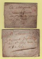 Pontoise - 72 - Seine Et Oise - Lot De 2 Marques Postales Avec Texte De Saint Ouen L Aumone - 1828 - Marcofilie (Brieven)