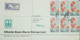 O) 1983 KENYA, REGISTERED MOMBASA, FLOWERS-TUMBA MBONI- TERMINALIA ORBICULARIS, TO USA.MIDDLE EAST BANK - Kenya (1963-...)