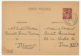 FRANCE / ALGERIE - CP 80c Type Iris Depuis MOSTAGANEM - 1941 - Ganzsachen