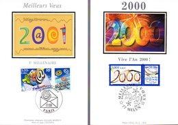 """"""" ANNEE 2000 / NOUVEAU MILLENAIRE """" Sur 2 Cartes Maximum En Soie De 1999 Et 2000. N° YT 3291 3365. Parfait état CM - Cartas Máxima"""