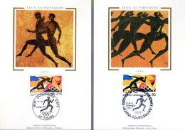 """FRANCE - GRECE 1992 """" J.O. DE BARCELONE """" Sur 2 Cartes Maximum En Soie De 1992. N° YT 2745 + GRECE 1781. Parfait état CM - Emissions Communes"""