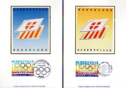 """FRANCE ESPAGNE 1992 """" J.O. ALBERTVILLE / BARCELONE """" Sur 2 Cartes Maximum En Soie. N° YT 2760 + ESP 2808. Parf. état CM - Emissions Communes"""
