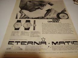 ANCIENNE PUBLICITE MONTRE ETERNA.MATIC 1958 - Bijoux & Horlogerie