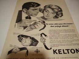ANCIENNE PUBLICITE MONTRE KELTON PAS ASSEZ CHERE  1958 - Bijoux & Horlogerie