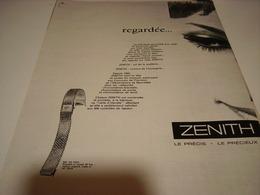 ANCIENNE PUBLICITE MONTRE ZENITH REGARDEE 1962 - Autres